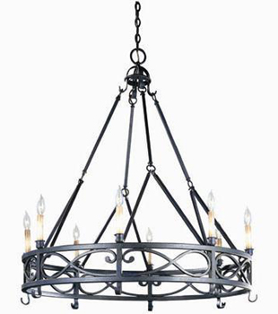 World Imports WI-80018-85 Iron Works 8 Light Chandelier - Textured Rust