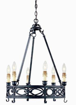 World Imports WI-80020-85 Iron Works 6 Light Chandelier - Textured Rust