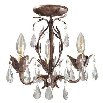 World Imports WI-81023-62 Bijoux 3 Light Semi Flush Chandelier - Weathered Bronze