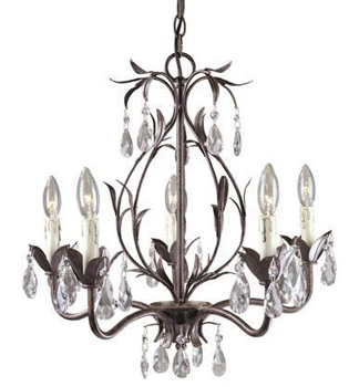 World Imports WI-81025-62 Bijoux 5 Light Chandelier - Weathered Bronze