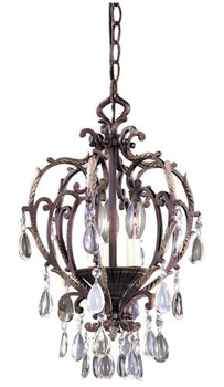 World Imports WI-81053-24 Mystic Rhythm 3 Light Chandelier - Crackled Bronze with Silver