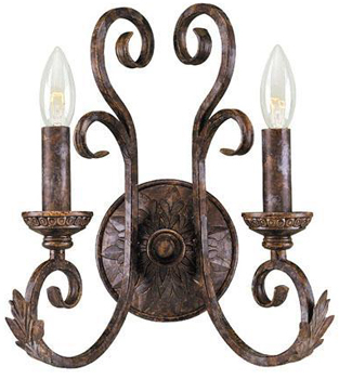 World Imports WI-81082-58 Medici 2 Light Wall Sconce - Oxide Bronze