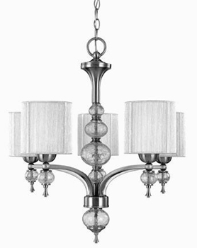 World Imports 8245-37 Beyond Modern 5 Light Chandelier - Brushed Nickel