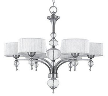 World Imports 8246-37 Beyond Modern 6 Light Chandelier - Brushed Nickel