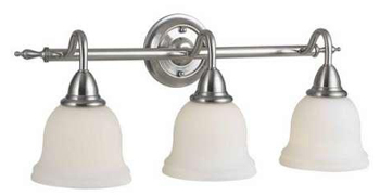 World Imports WI-8383-02 Montpellier 3 Light Bath With Glass Shade - Satin Nickel