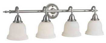 World Imports WI-8384-02 Montpellier 4 Light Bath With Glass Shade - Satin Nickel