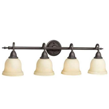 World Imports WI-8384-88 Montpellier 4 Lights Bath With Glass Shade - Oil Rubbed Bronze