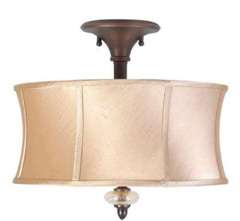 World Imports 8573-56 Chambord 3 Light Iron Semi-flush w/ Glass Ornament -  Weathered Bronze