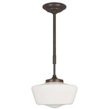 World Imports 9009-88  Luray Schoolhouse with Opal Glass - Oil Rubbed Bronze