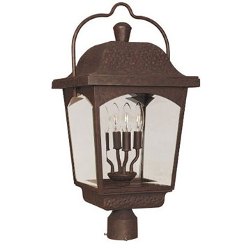 World Imports WI-9200-89 Ayrs Outdoor Exterior 4-Light Post Mount Lantern - Bronze
