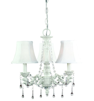 World Imports WI-5838-07 Alyssa 3 Light Chandelier - Distressed White