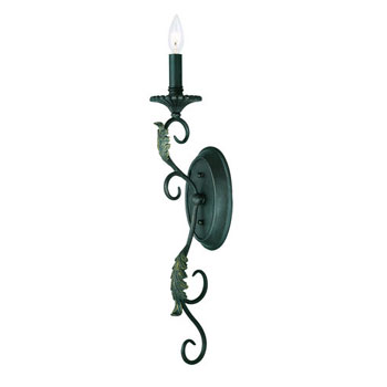 World Imports WI-6261-99 Angela 1 Light Wall Sconce - Wrought Iron
