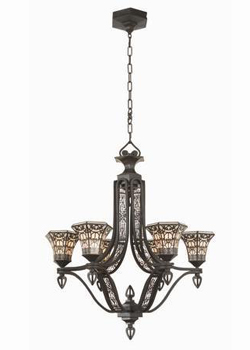 World Imports WI-7446-21 Classically Retro & Beyond 6 Light Chandelier - Black