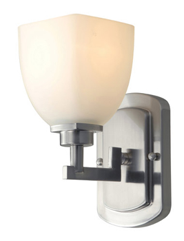 World Imports WI-8581-02 Galway 1 Light Bath Sconce w/ Glass - Satin Nickel