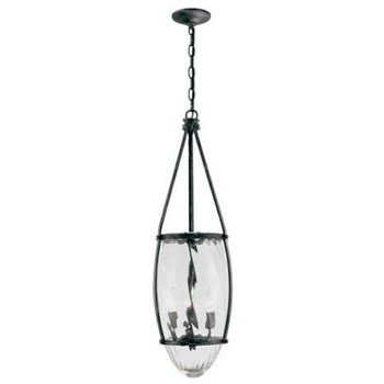 World Imports WI-5954-93 Crystal Elegance 3-Light Pendant Clear Glass 11-Inch Diameter 32-Inch Height - Natural Iron