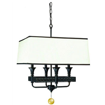 World Imports WI-2334-47 Manhattan Collection Traditional / Classic Four Light Pendant - Oiled Bronze