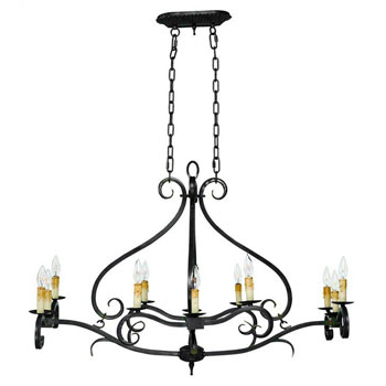 World Imports WI-3629-32 Chelton CollectionTraditional / Classic Twelve Light Island / Billiard Fixture - Aged Iron