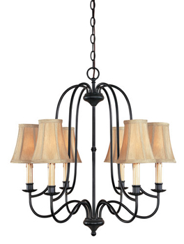 World Imports WI-3746-34 Hastings Collection Traditional / Classic Six Light Chandelier - Aged Ebony