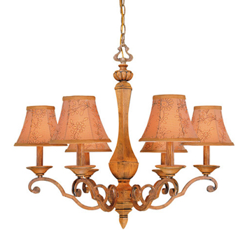 World Imports WI-4040-67 Bella Wood Collection Traditional / Classic 6 Light Up Lighting Chandelier - Bella Wood