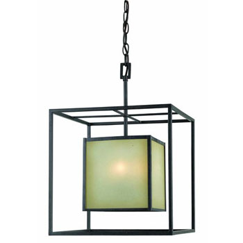 World Imports WI-4115-55 Hilden Collection Contemporary / Modern Four Light Covered Chandelier - Aged Bronze