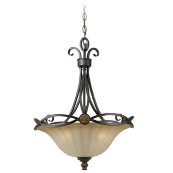 World Imports WI-4433-38-19 Medallion Traditional Inverted Pendant Light - Iron Oxide / Gold Leaf