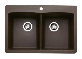 Blanco Diamond Equalu003cbr/u003e Double Bowl Silgranit II Drop In Kitchen Sink