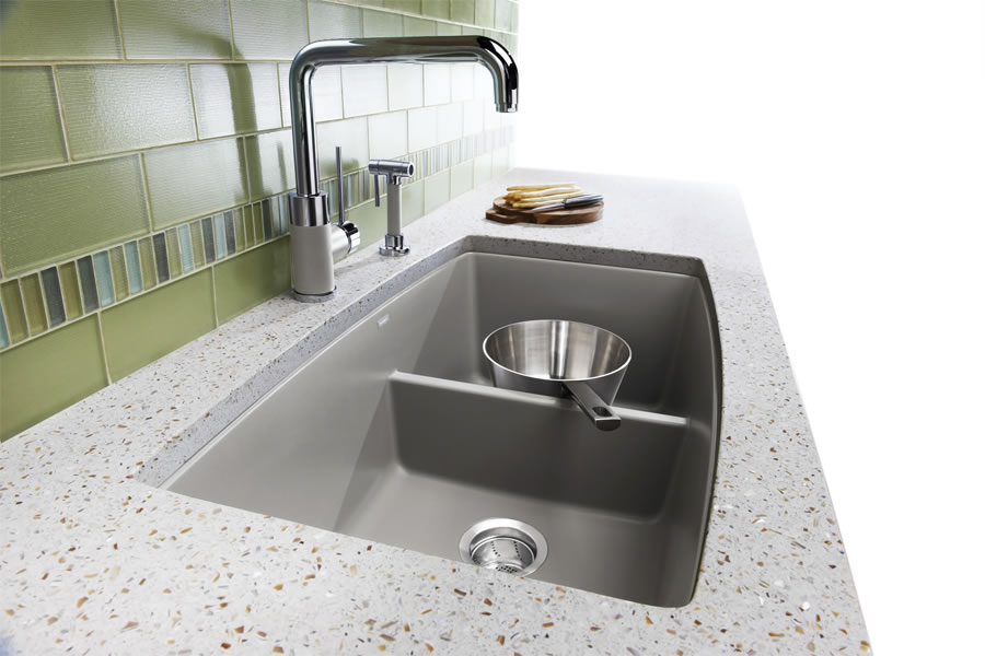 blanco silgranit double bowl kitchen sink - Undermount Sinks