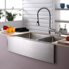 double bowl kitchen sink with apron