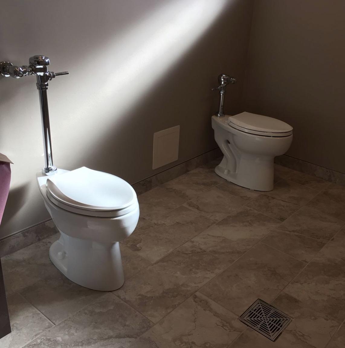 Sloan flush valves on Kohler toilets